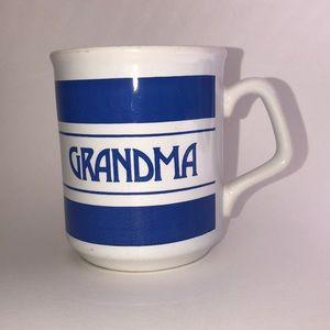 Vintage Grandma Coffee Tea Mug Cup Blue/White